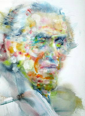 Charles Bukowski - Watercolor Portrait Print by Fabrizio Cassetta