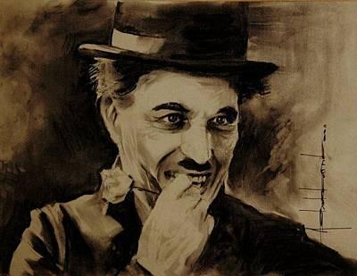 Grace Kelly Painting - Charles Chaplin by Ashok Karnik