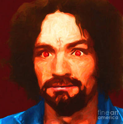 Racism Digital Art - Charles Manson 20141213 Square by Wingsdomain Art and Photography