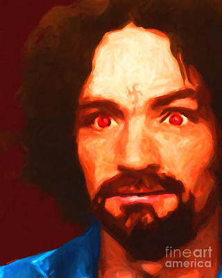 Racism Digital Art - Charles Manson 20141213 by Wingsdomain Art and Photography
