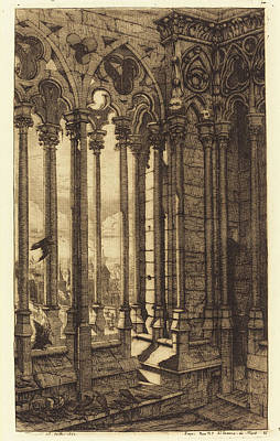 Notre Dame Drawing - Charles Meryon French, 1821 - 1868, La Galerie Notre-dame by Quint Lox
