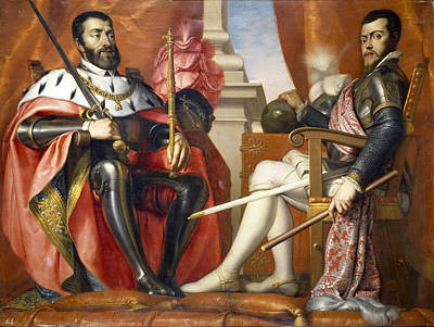 Aria Painting - Charles V And Philip II by Antonio Fernandez Arias