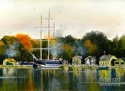 Scrimshaw Painting - Charles W Morgan Mystic Ct by Tom Jennerwein