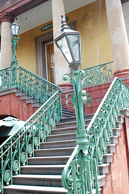 Staircase Photograph - Charleston Aqua Teal French Quarter Staircase - Charleston Architecture  by Kathy Fornal
