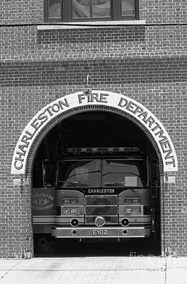 Charleston Fire Department - Black And White Print by Suzanne Gaff