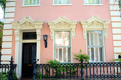 Charleston French Quarter District Mansion - Pink And Black French Architecture Print by Kathy Fornal