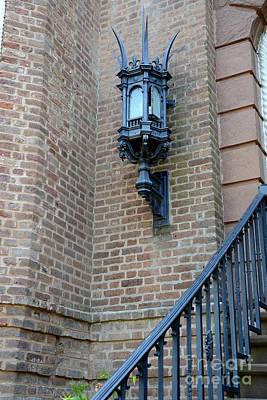 Charleston French Quarter Gothic Architecture - Charleston Gothic Ornate Black Lanterns Lamps  Print by Kathy Fornal