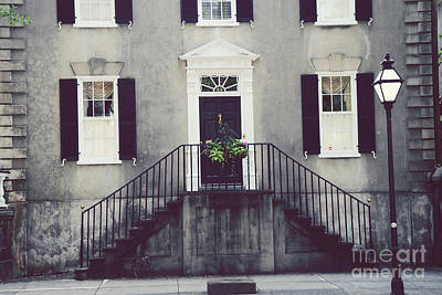 Charleston French Quarter Historial District Mansion - Charleston Black Grey White House And Lantern Print by Kathy Fornal