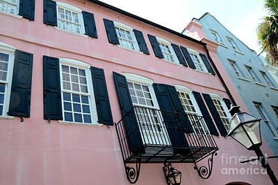 Charleston French Quarter Rainbow Row French Lace Iron Balconies Black And Pink Window Shutters  Print by Kathy Fornal