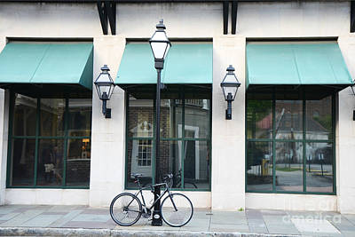 Storefront Photograph - Charleston Historical District Architecture Buildings And Bicycle Street Scene by Kathy Fornal