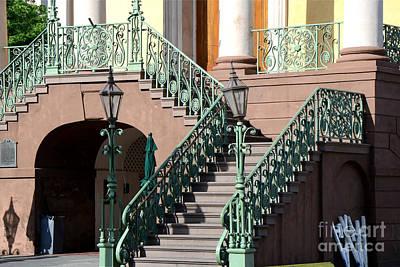 Staircase Photograph - Charleston Historical District Staircase And Lanterns - Aqua Teal Staircase Architecture  by Kathy Fornal