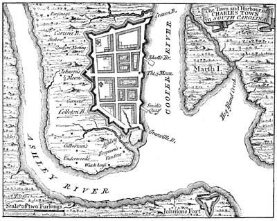 1732 Photograph - Charleston: Plan, 1732 by Granger