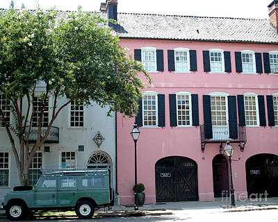 Charleston Rainbow Row Historical District Pink Black Architecture Street Scene  Print by Kathy Fornal
