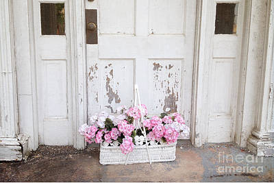 Old Door Photograph - Charleston Shabby Chic Vintage Cottage Old Door With Basket Of Flowers by Kathy Fornal