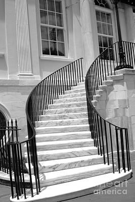 Charleston Houses Photograph - Charleston South Carolina Black White Staircase Architecture by Kathy Fornal