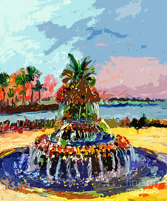 Charleston South Carolina Pineapple Fountain Painting Print by Ginette Callaway