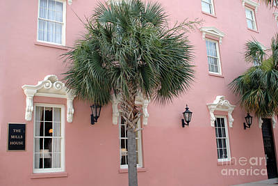 Charleston South Carolina Pink Architecture Historical District - The Mills House Print by Kathy Fornal