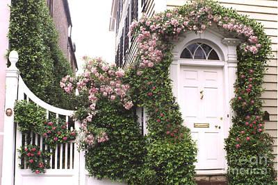 Charleston South Carolina Roses Arbor And Door Print by Kathy Fornal