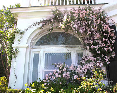 Charleston South Carolina Window Climbing Roses Print by Kathy Fornal