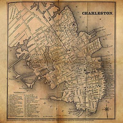 Charleston Vintage Map No. I Original by James Christopher Hill