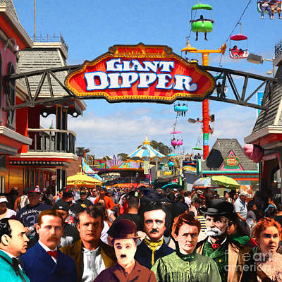 Charlie And Friends Cannot Decide Between The Giant Dipper The Sky Gliders Or The Side Shows Sq V2 Print by Wingsdomain Art and Photography