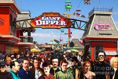 Charlie And Friends Cannot Decide Between The Giant Dipper The Sky Gliders Or The Side Shows Print by Wingsdomain Art and Photography