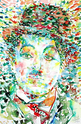 Charlie Chaplin - Watercolor Portrait Original by Fabrizio Cassetta