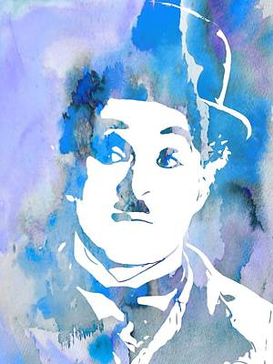 Charlie Chaplin Watercolor Blue Print by Dan Sproul