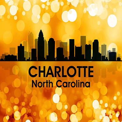 Charlotte Nc 3 Squared Print by Angelina Vick