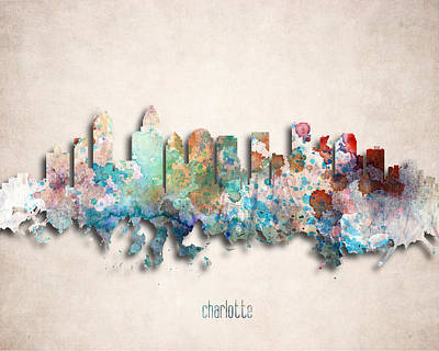 Charlotte Painted City Skyline Print by World Art Prints And Designs