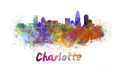 Charlotte Skyline In Watercolor Print by Pablo Romero