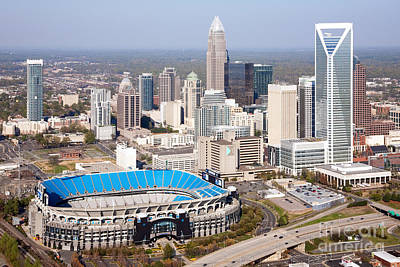 Charlotte Skyline With Bank Of America Stadium Print by Bill Cobb