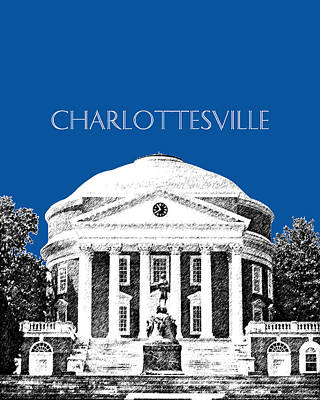 Pen Digital Art - Charlottesville Va Skyline University Of Virginia - Royal Blue by DB Artist