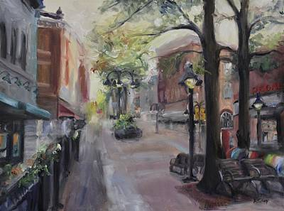 Impressionistic Landscape Painting - Charlottesville's Historic Downtown Mall by Donna Tuten
