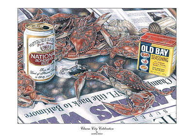 Crabs Drawing - Charm City Celebration by Jonathan W Brown