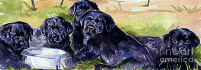 Black Lab Puppy Painting - Charm School by Molly Poole