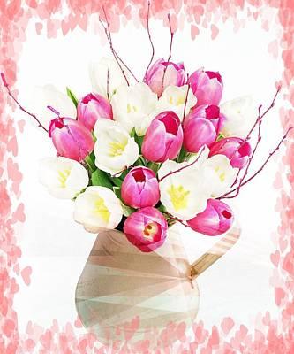 Charming Heart Tulips Print by Debra  Miller
