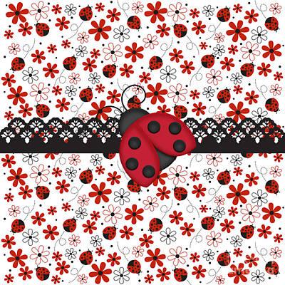Ladybug Digital Art - Charming Ladybugs by Debra  Miller