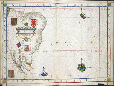 Chart Of Brazil Print by British Library