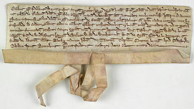 Charter Of Claybrooke Magna Print by British Library