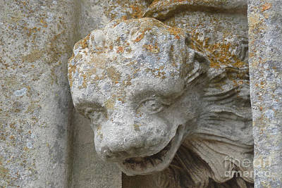 France Photograph - Chartres Cathedral Carved Head by Deborah Smolinske