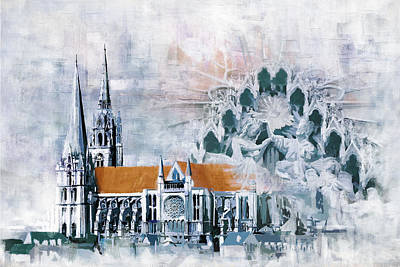 Chartres Cathedral Print by Catf