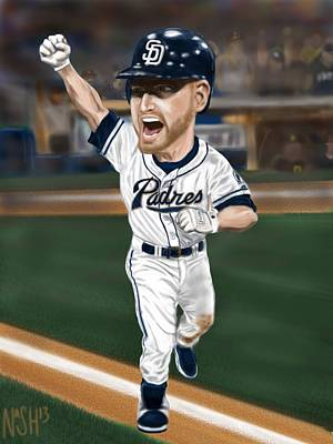 Walk Off Mixed Media - Chase Headley by Jeremy Nash