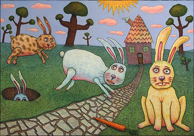 Rabbit Drawing - Chasing Tail by James W Johnson