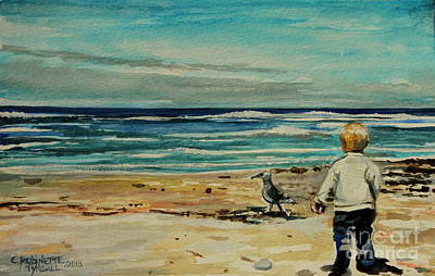 Bird Painting - Chasing The Seagull by Elizabeth Robinette Tyndall