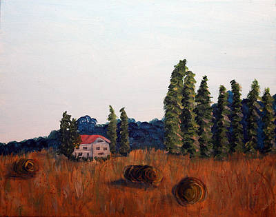 Haybale Painting - Chateau D'eauville by Maura Satchell