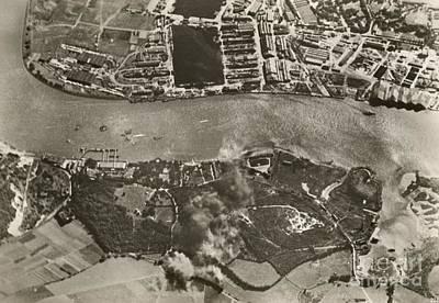 Chatham Dockyards Air Raid, World War II Print by Mid-manhattan Library