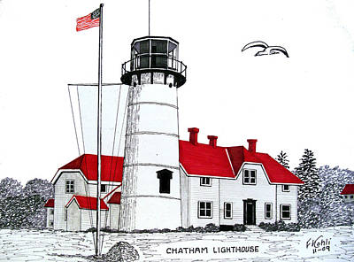 Pen And Ink Drawing - Chatham Lighthouse Drawing by Frederic Kohli