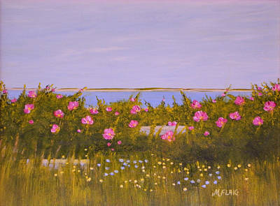 Chatham Harbor Painting - Chatham Roses On North Beach Vista by Mary Flaig