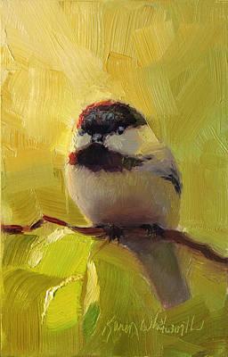 Chatty Chickadee - Cheeky Bird Original by Karen Whitworth
